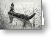 Featured Drawings Greeting Cards - Canoe of Tules Greeting Card by Charles Rogers