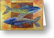 Gouache Mixed Media Greeting Cards - Fish Greeting Card by Filip Mihail