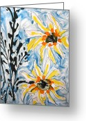 Baljit Chadha Greeting Cards - Zenmokshu Flowers Greeting Card by Baljit Chadha
