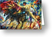 Leonid Afremov Greeting Cards - Corrida Greeting Card by Leonid Afremov