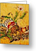 Dandelion Pyrography Greeting Cards - One Mans Trash... Greeting Card by Robert Jerore