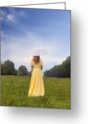 Umbrella Greeting Cards - Girl On Meadow Greeting Card by Joana Kruse