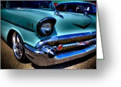 Street Rod Photo Greeting Cards - 1957 Chevy Bel Air Greeting Card by David Patterson