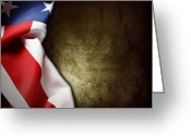 Grungy Greeting Cards - American flag Greeting Card by Les Cunliffe