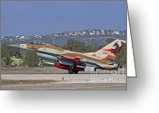 Featured Greeting Cards - An F-16a Netz Of The Israeli Air Force Greeting Card by Ofer Zidon