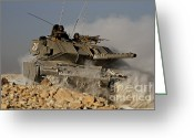 Featured Greeting Cards - An Israel Defense Force Magach 7 Main Greeting Card by Ofer Zidon