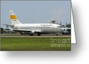 Featured Greeting Cards - A Boeing 737-200 Of The Indonesian Air Greeting Card by Remo Guidi