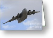 Featured Greeting Cards - A Boeing C-17 Globemaster Iii Taking Greeting Card by Remo Guidi