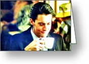 Twin Peaks Greeting Cards - A Damn Fine Cup Of Coffee Greeting Card by Ludzska