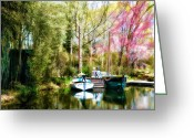Boats Greeting Cards - A Day at the Lake Greeting Card by Bill Cannon