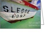 Old World Photography Greeting Cards - A Fishing Boat Named Sledge Greeting Card by David Letts