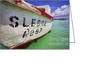 Old World Photography Greeting Cards - A Fishing Boat Named Sledge II Greeting Card by David Letts
