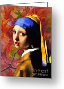 Vermeer Greeting Cards - A Girl With A Pearl In Autumn Greeting Card by Zeana Romanovna