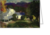 Featured Greeting Cards - A Mountain Farm Greeting Card by George Wesley Bellows