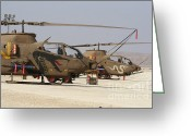 Featured Greeting Cards - A Pair Of Ah-1s Tzefa Attack Greeting Card by Ofer Zidon