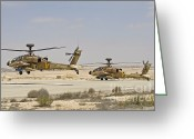 Featured Greeting Cards - A Pair Of Ah-64d Saraf Attack Greeting Card by Ofer Zidon