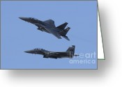 Featured Greeting Cards - A Pair Of F-15c Eagle Aircraft Perform Greeting Card by Remo Guidi