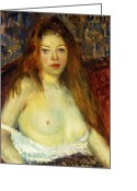 Featured Greeting Cards - A Red-Haired Model Greeting Card by William James Glackens