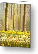 Woodlands Greeting Cards - A Spring Day Greeting Card by Jasna Buncic