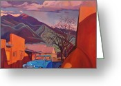 Taos Greeting Cards - A Teal Truck in Taos Greeting Card by Art West