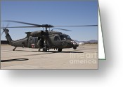 Featured Greeting Cards - A Uh-60 Blackhawk Helicopter Greeting Card by Terry Moore