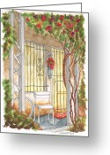 Urban Watercolour Greeting Cards - A white chair in Plummer Park - West Hollywood - California Greeting Card by Carlos G Groppa
