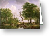 Sportsmen Greeting Cards - A wooded river landscape with sportsmen in a rowing boat Greeting Card by Andreas Schelfhout