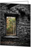 Abandoned Buildings Greeting Cards - Abandoned - Ruins - Autumn within Cunningham Tower Greeting Card by Gary Heller