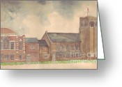 Russell Kightley Greeting Cards - Abington Avenue Congregational Church Greeting Card by Russell Kightley