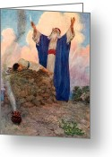 Sacrificial Greeting Cards - Abraham and Isaac on Mount Moriah Greeting Card by William Henry Margetson