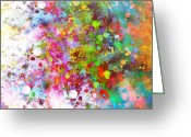 Ann Powell Greeting Cards - abstract art COLOR SPLASH on Square Greeting Card by Ann Powell