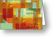 Orange And Green Greeting Cards - abstract - art- Intersect Orange   Greeting Card by Ann Powell