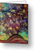 Violet Prints Greeting Cards - Abstract Art Original Landscape Painting Go Forth III By Madart Studios Greeting Card by Megan Duncanson