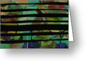 Ann Powell Greeting Cards - abstract - art- Stripes Two Greeting Card by Ann Powell