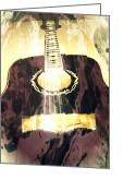 Guitar Greeting Cards - Acoustic Guitar - In The Studio Greeting Card by Brian Howard