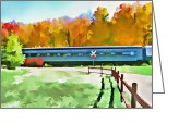 Rural Landscapes Mixed Media Greeting Cards - Adirondack Scenic Railroad - Watercolor Greeting Card by Steve Ohlsen