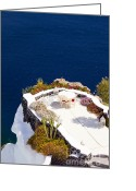 Veranda Greeting Cards - Aegean and white stage Greeting Card by Aiolos Greece Collection