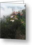 Andes Greeting Cards - Aeriel View of Monserrate Church Greeting Card by Jess Kraft