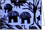 Featured Reliefs Greeting Cards - African Huts Blue Greeting Card by Caroline Street