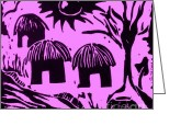 Featured Reliefs Greeting Cards - African Huts Pink Greeting Card by Caroline Street