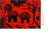 Featured Reliefs Greeting Cards - African Huts Red Greeting Card by Caroline Street