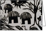 Featured Reliefs Greeting Cards - African Huts White Greeting Card by Caroline Street