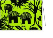 Featured Reliefs Greeting Cards - African Huts Yellow Greeting Card by Caroline Street