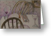 Colored Pencil Greeting Cards - After Dinner Greeting Card by Larry Preston