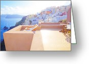 Veranda Greeting Cards - Afternoon sunlight Greeting Card by Aiolos Greece Collection