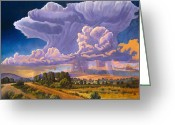 Taos Greeting Cards - Afternoon Thunder Greeting Card by Art West