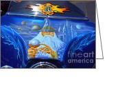 Merlin Greeting Cards - Airbrush Magic - Wizard Merlin on a Motorcycle Greeting Card by Christine Till