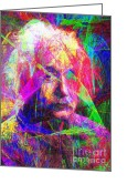 Scientists Greeting Cards - Albert Einstein 20130615 Greeting Card by Wingsdomain Art and Photography