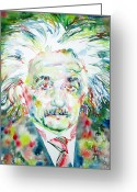 Albert Einstein Greeting Cards - Albert Einstein Watercolor Portrait Greeting Card by Fabrizio Cassetta