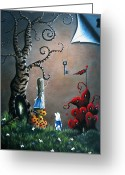 Surreal Mushrooms Greeting Cards - Alice In Wonderland Art by Shawna Erback Greeting Card by Shawna Erback